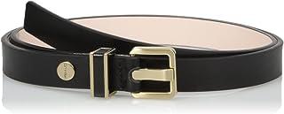 Calvin Klein 女士 20mm 半光腰带带金属环和皮革镶嵌 黑色 Large