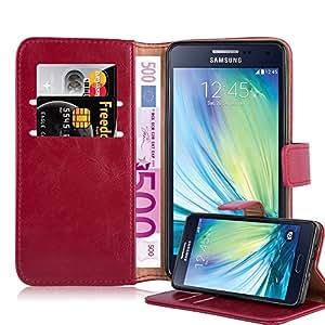 Cadorabo 手机壳适用于三星 Galaxy A5 2015 (5) 书本(奢华设计) - 带磁扣、支架功能和卡槽 - 钱包式手机壳 Etui 盖袋 PU 皮革翻盖DE-106876 *红色