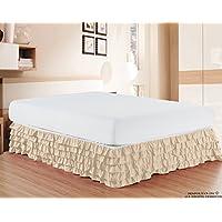 优雅舒适奢华优质 1500 支抗皱埃及长绒棉优质多褶床裙 - 38.1 cm 下垂单人床、普通双人床、大号双人床、加州大号双人床、加州大号双人床、加州大号双人床 奶油色 两个 47RW-MultiRuffled-BSKIRT-Twin-Cream