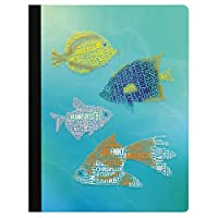 """Tree-Free Greetings Beautiful Composition Notebook 覆盖 多种颜色 Fish Breeds 9.75 x 7.25"""""""