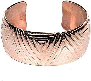TSKIES 手工美国本地铜手镯纳瓦霍三角设计 16.51 厘米手腕绿松石天空