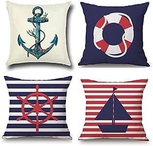 ETZON 沙发枕套*航海主题靠垫套抱枕套沙发枕头装饰