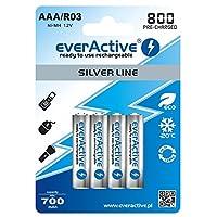 everActive 电池 AAA 800 mAh 4 件,NI-MH,Micro R3,充电,银线 1.2 伏,1 气泡卡