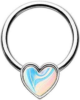 Amelia 时尚 16GA 发光月光心形迷人戒指适用于软骨、嘴唇、九月等 316L *钢