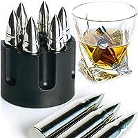 威士忌石 超大 6 件装不锈钢银子弹 带旋转桶底座激光雕刻冰块冰块冰块可重复使用冰块石头礼品套装男式父亲节军人用。