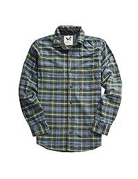男士法兰绒衬衫双层 * 棉预洗复古外观格子工装衬衫