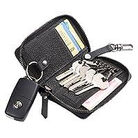 钥匙钱包带拉链皮革汽车钥匙扣男士大容量钥匙扣黑色
