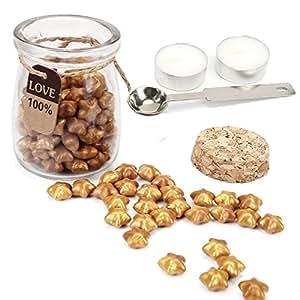 Yoption 120 片幸运星形密封蜡珠带 1 件蜡熔勺和 2 件蜡烛适用于蜡印章 金色 AGUS13104