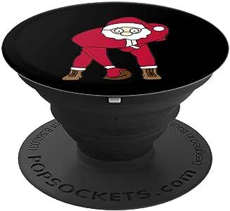 足球圣诞老人趣味足球运动员男孩圣诞礼物 PopSockets 手机和平板电脑握架260027  黑色