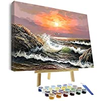Vigeiya 40.64 x 50.8 cm 油画数字适合成人初学者,包括带框画布和木画架,带画笔和丙烯酸颜料 Sea 4 16*20in