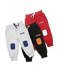 手指 3 件装针织男孩女孩儿童慢跑运动裤棉质运动裤睡衣膝盖补丁细节