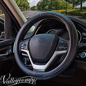 "Valleycomfy 方向盘套通用 38.1 cm - 真皮,透气,防滑,无异味 15"" Leather-05D 黑色 FX18GL-05"