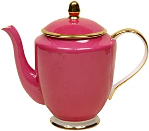 Gracie Bone China 4-Cup Coffee Teapot, Gold Trimmed, Pure Red