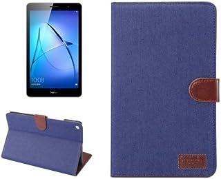 alsatek 保护套 PU 皮 适用于华为 MediaPad M3 Lite 8.0,图案蓝色纹理织物