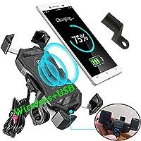 (带USB)BUENNUS 摩托车手机支架无线充电器防水手机支架车把/镜子 10W 适用于三星 Galaxy S10 S10+ S10E S9 S9 +,7.5W 适用于 iPhone 11 Pro Max XR XS MAX 8 8Plus 7 7Plus