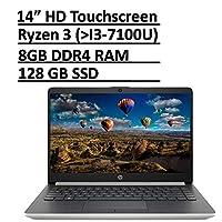 *新 HP 14 优质轻薄触屏笔记本电脑电脑 PC 14 英寸高清微边框显示屏 AMD Ryzen 3 3200U /Radeon Vega 3, 8GB RAM 128GB SSD USB-Type C HDMI RJ-45 WiFi 网络摄像头 Win 10 配件包