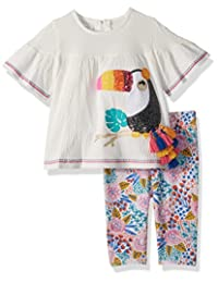Mud Pie 女婴薄纱花卉束腰外衣和打底裤 2 件套装
