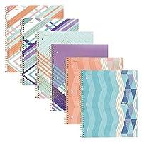 五星螺旋筆記本,1 主題,大學橫紋紙,100 張 6片裝 多種顏色