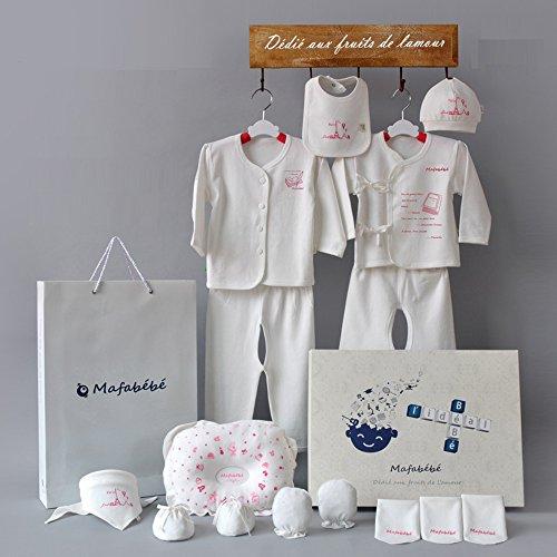 Mafabébé 玛珐贝贝 源自法国 新款母婴用品初生婴儿衣服宝宝服饰满月18件礼盒 (新生儿, 理想蓝)