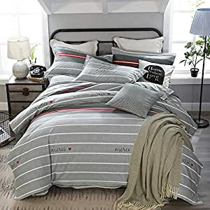 J.H.Longess 加厚全棉磨毛四件套纯棉荷叶边床单保暖床上四件套秋冬季单双人床套件 (L.吉, 1.5米床(被套200*230cm))