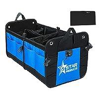 5-Star-Products 汽车后备箱储物收纳箱移动后座货箱适用于 SUV 卡车汽车足球运动妈   便携式可折叠多隔层带赠送手套盒钱包