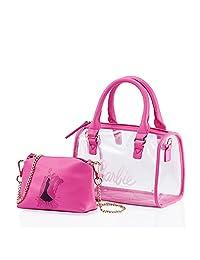 barbie 芭比 公主系列 女式 时尚新潮个性透明手提包沙滩包斜挎子母包 BBFBPTAI255.01A 粉色 22.5*13*28cm(供应商直送)