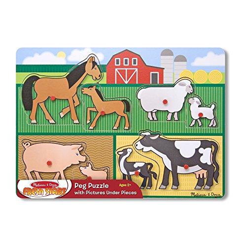 Melissa & Doug 母婴农场动物家族木质拼图(8 片)
