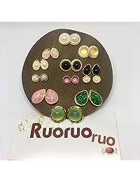 Ruoruoruo 两周耳环套装礼品多彩耳环套装 12 对女生耳环