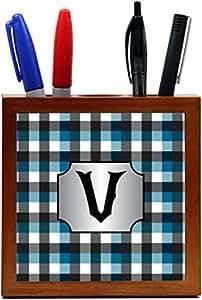 """Rikki Knight Letter """"V"""" Letter Initial Blue Black Grey Plaid Design 5"""" Wooden Tile Pen Holder (PH46085)"""