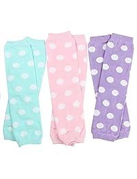 juDanzy 3 双装女婴暖腿套水彩波尔卡圆点粉粉红波点,薰衣草波尔卡圆点