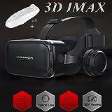VR 耳机/眼镜,带遥控器和耳机[内置],TSANGLIGHT 虚拟现实耳机 3D IMAX 电影游戏遮阳板,适用于 Galaxy S8 S7 iPhone X 8 7 Plus 及其他 4.7-6.0 英寸安卓/IOS 智能手机