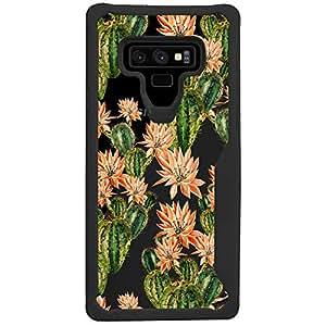 MINITURTLE 手机壳适用于三星 Galaxy Note 9 (2018) [印花手机壳] [Armor Flex 系列] 透明黑色 TPU 缓冲手机壳 Floral Cactus Print