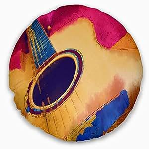 Designart CU6018-16-16 Listen to The Colorful 音乐抱枕枕套,适用于客厅,沙发,40.64 cm。 x 40.64 厘米,低*性枕芯 + 两面印有靠垫套 20 Inches Round CU6018-20-20-C