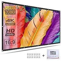 投影机屏幕 120 英寸 16:9 高清便携式投影电影屏幕适用于家庭影院户外室内支持双面投影