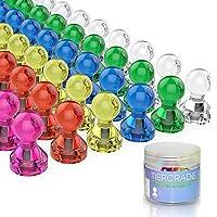 推销销磁铁、冰箱磁铁、Tiergrade 60 包 7 种多色结实磁铁,用于家庭课堂和办公室磁贴,冰箱擦拭板和白板磁铁 多色 标准