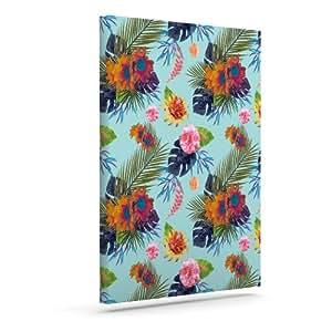 "Kess InHouse Nika Martinez""热带花卉""蓝色花朵户外帆布墙壁艺术 10"" x 12"" 蓝色 MM1017AAC02"