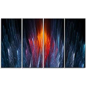 """Designart Fractal Fire in 浅蓝色抽象艺术画布印刷品 蓝色 48x28"""" - 4 Equal Panels PT9288-271"""