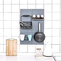 新款日式洞洞板免打孔墙面置物架 收纳客厅厨房卧室隔板壁挂收纳架 (灰色4个)