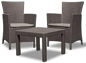 Allibert 219991 休息室套装 Rosario Balcony 2 个扶手椅和 1 个桌子,藤条外观,塑料,棕色