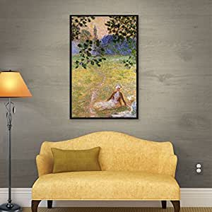 ArtWall Claude Monet's Eve in The Meadow of Giverny Gallery Wrapped Floater Framed Canvas, 14 by 18""