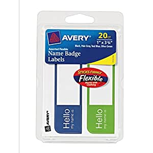 Avery Flexible Name Badge Labels, 1 x 3.75, Assorted, Pack of 20 (06157)