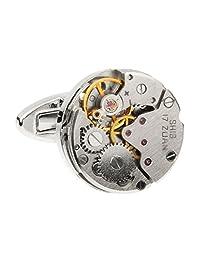 圆形手表机芯蒸汽朋克复古婚礼新郎礼物男士复古袖扣