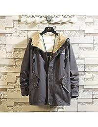 抖音同款 加绒加厚 冬季时尚连帽休闲夹克男士韩版青年外套
