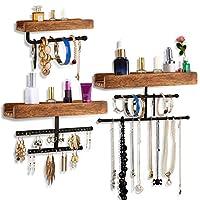 Viefin 壁挂式首饰收纳盒,带质朴木架和金属架,悬挂式首饰收纳盒,可用于项链、耳环、手链和饰钉(3 件套,棕色)