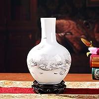 景德镇手工陶瓷中式客厅博古架青花瓷花瓶插花花器工艺品实木底座陶瓷摆件 (雪景天球瓶(实木底座))