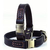 OCSOSO 可调节优质真皮狗狗项圈,适合大型犬和中型犬,柔软皮革耐用时尚宠物狗项圈,可调节长度范围为 13 至 20 英寸,1 英寸宽(约 33.0 至 50.8 厘米,2.5 厘米宽) 黑色 均码