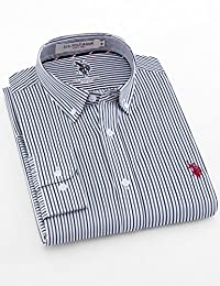美国大牌清仓 买2件减20元 U.S. POLO春季长袖衬衫男士商务正装纯棉T恤休闲修身男士上衣服2018年新款服饰服装男装 (XL, 衬衫-条纹-蓝灰)