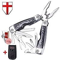 多功能工具 - Micarta 手柄多功能工具,带刀、钳子和剪刀 - 多功能工具,带大刀和锯子 - 适用于野营、打猎、生存和户外的迷你工具 - Grand Way 59029