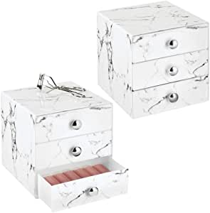 mDesign 塑料化妆收纳收纳盒,3 个抽屉 - 大理石 大理石 2片装 08392MDCEU