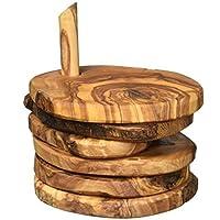 Naturally Med 橄榄木质质朴杯垫套装